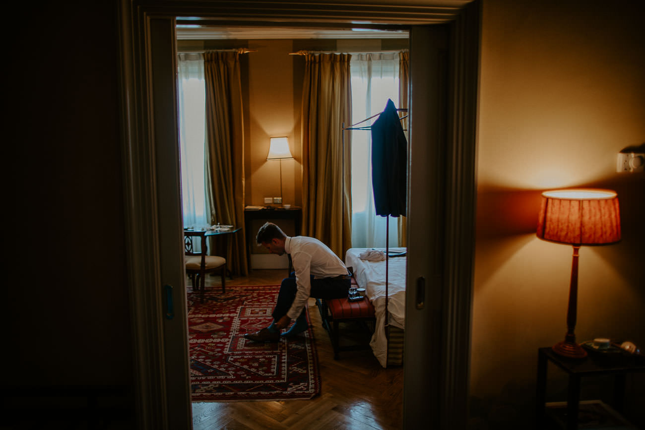 Elopement Florence Italy Groom Getting Ready