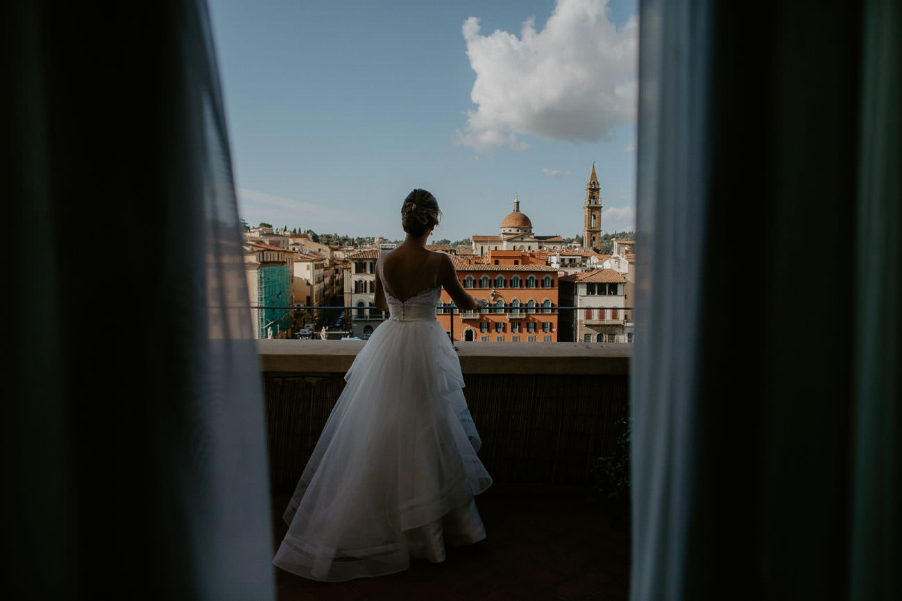 Bride getting ready for Wedding in Florence Italy