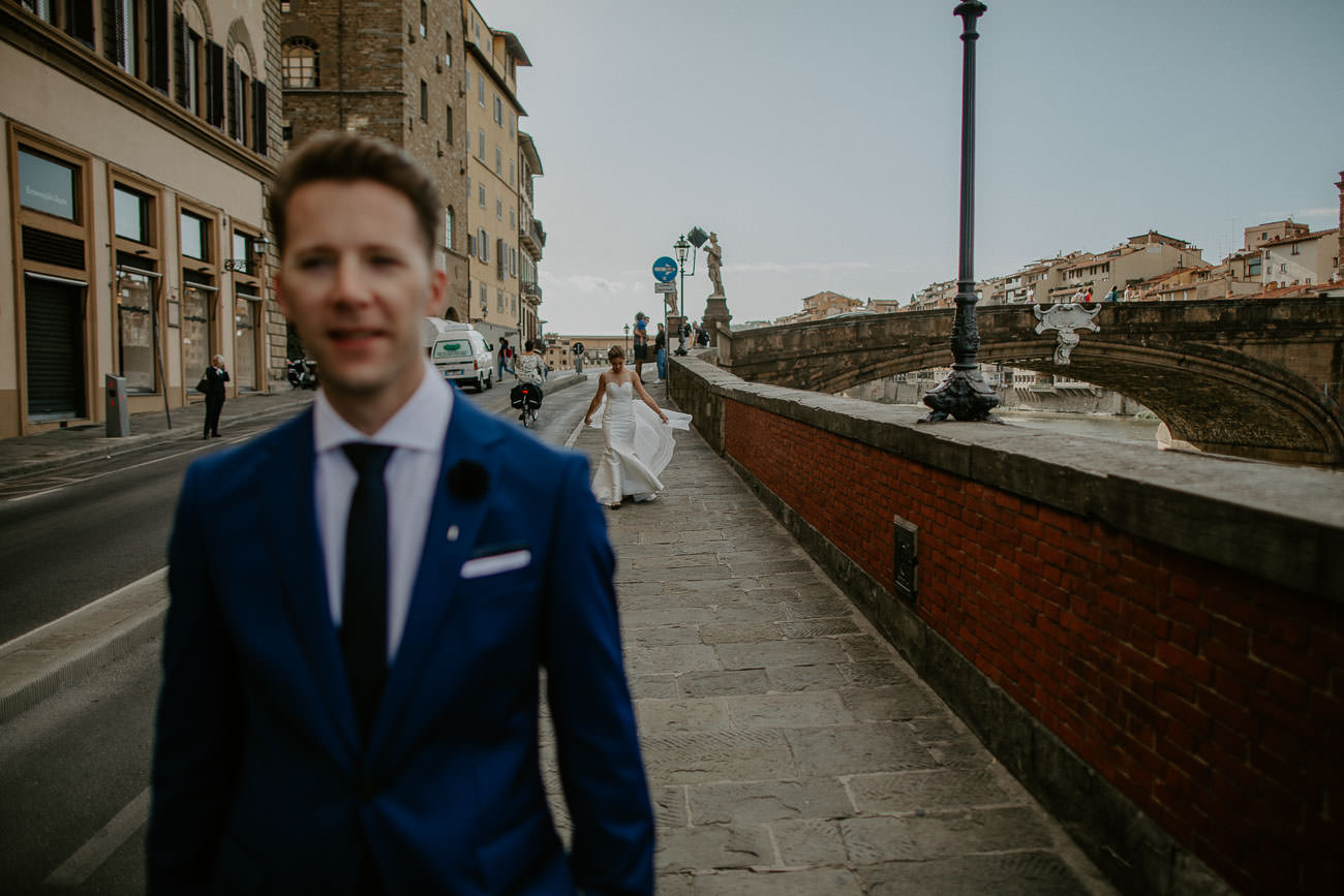 Bride and Groom First look Florence Italy wedding ceremony
