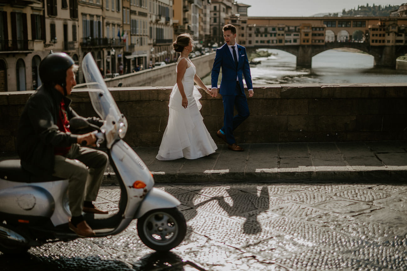 Bride and Groom Wedding Photos Ponte Vecchio Florence Italy