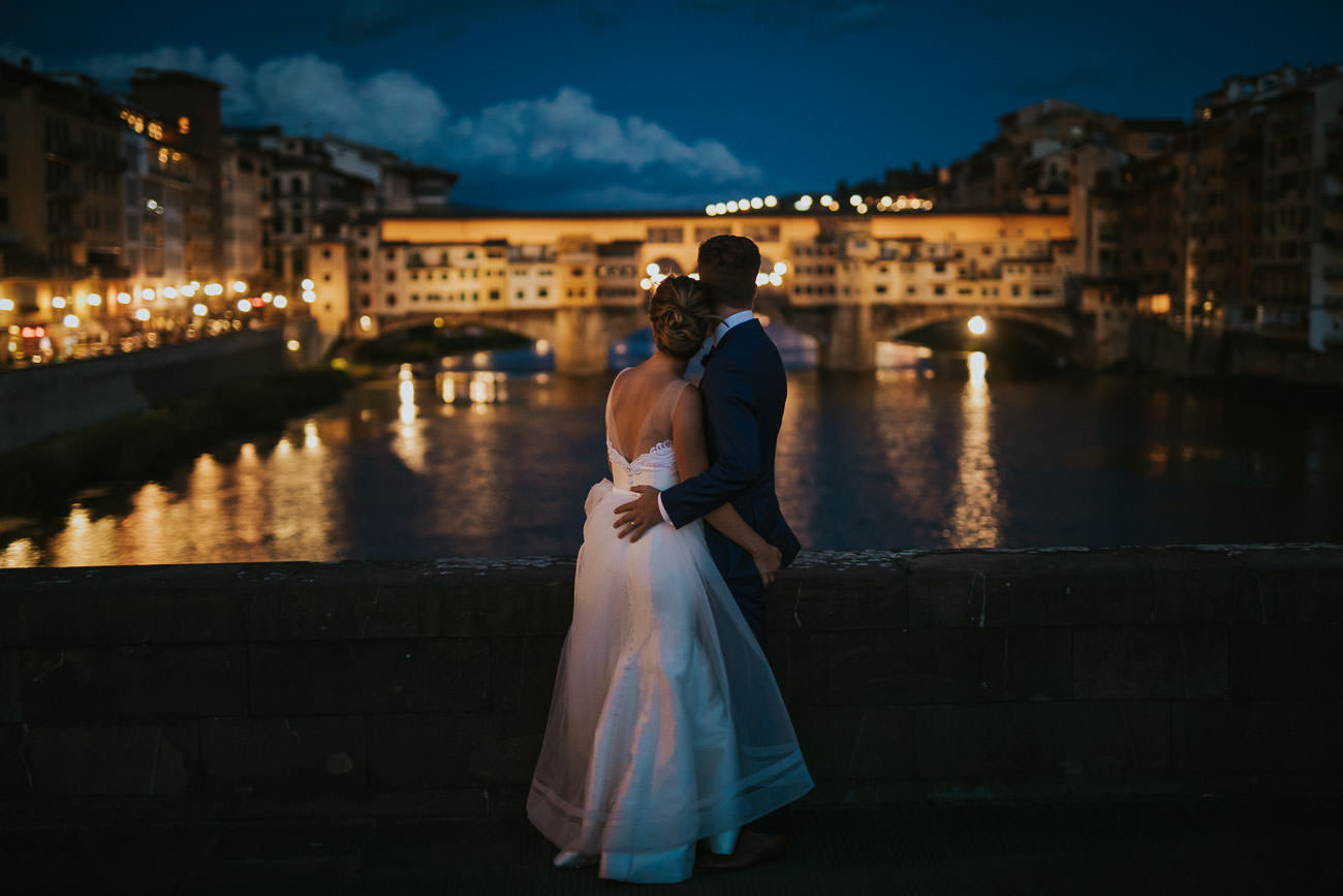 Gorgeous Night Wedding Photos Ponte Vecchio Florence Italy