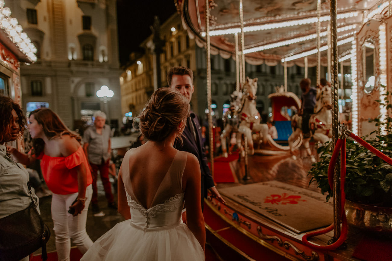 Florence Carousel Evening Wedding Pictures Elopement Photographer