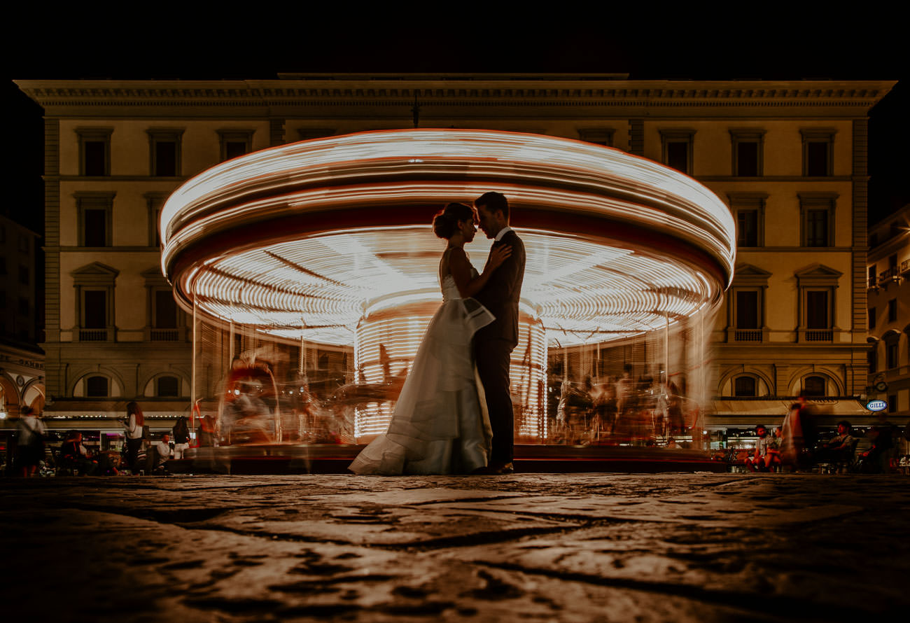 Stunning Nighttime Wedding Photos Florence Carousel Italy