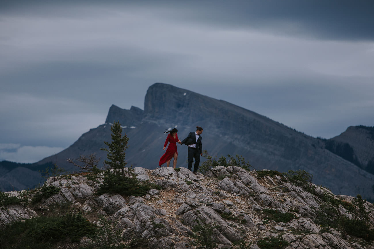 Heli-session Engagement Photos in the Rocky Mountains