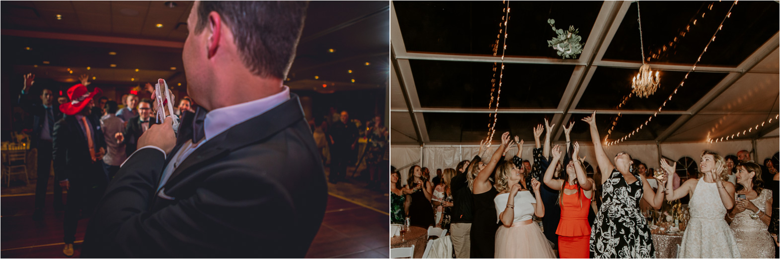 Wedding tradition of garter toss and bouquet toss