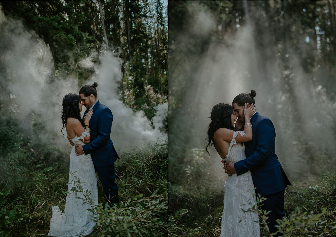 Boho Bride and Groom - Smoke Bomb - Smoke Bomb -Edmonton Wedding Photographer