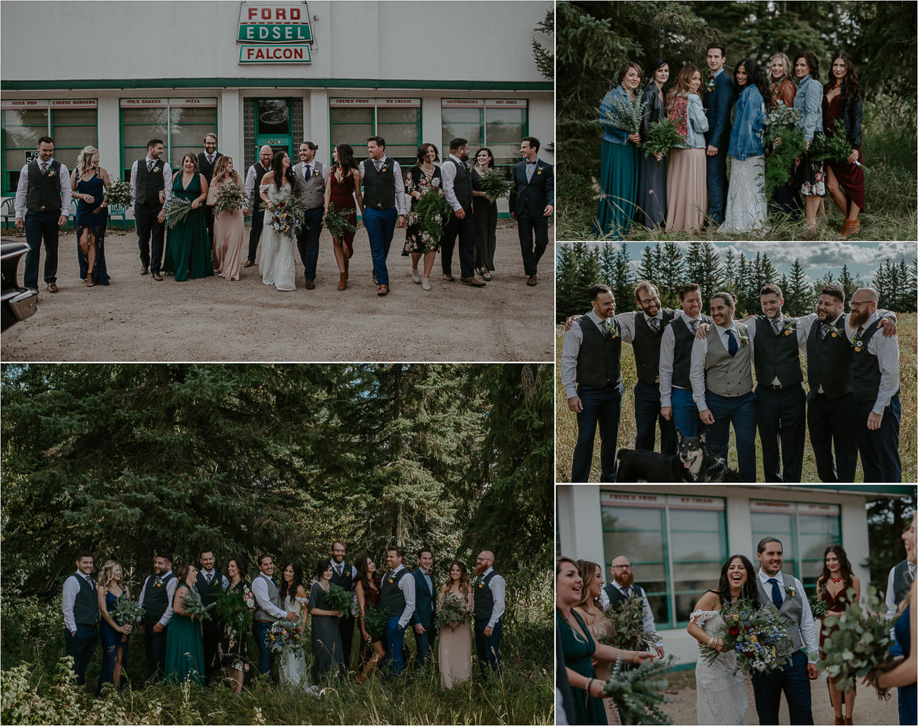 Boho Wedding Party - Bridesmaids and Groomsmen - Edmoton Wedding Photographer