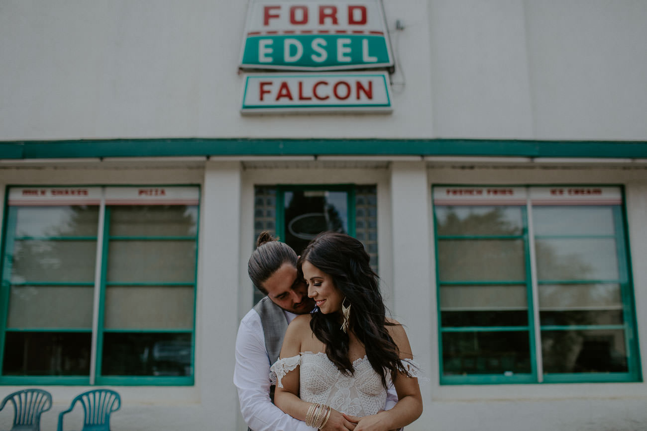 Bride and Groom Wedding Photos with Old Building - Edmonton Wedding Photographer