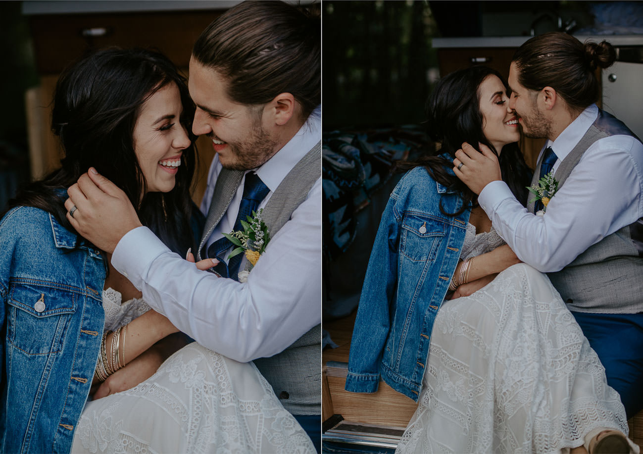 Boho Wedding Photos - camper van - jean jacket - happy bride and groom