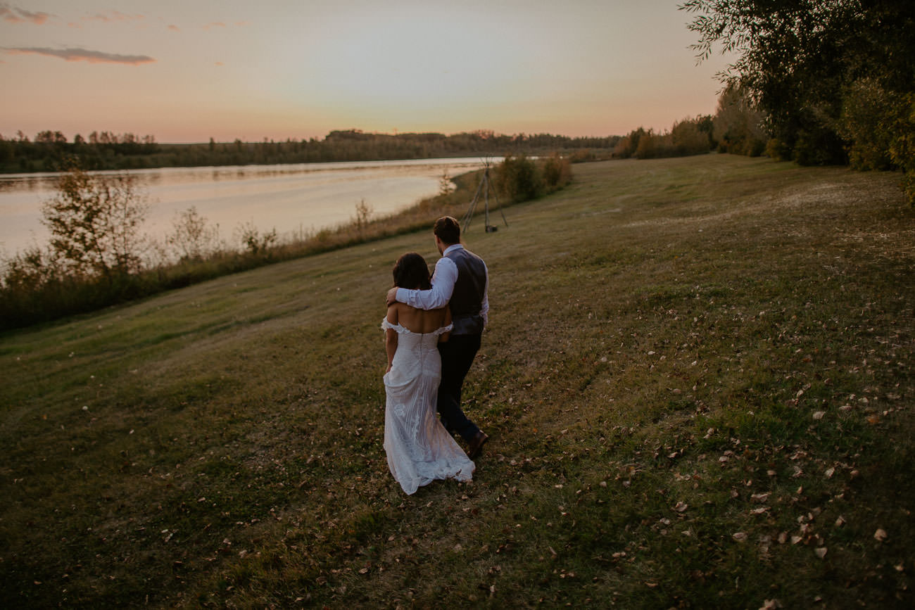 Lake Wedding Photos at Sunset - Edmonton Wedding Photographer