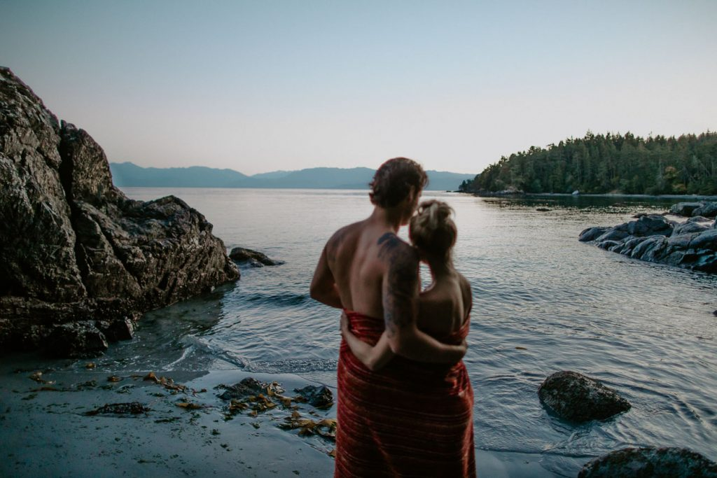 romantic skinny dip bride and groom after session edmonton wedding photographer